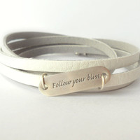 White Soft Leather Wrap Bracelet with Sterling Silver Charm / Follow Your Bliss Leather Bracelet