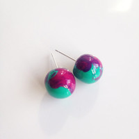 Round Marble Stud Earrings {Jade and Purple, Polymer Clay}