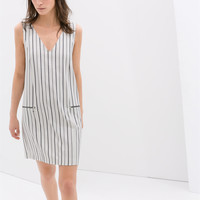 STRIPED DRESS WITH ZIPS