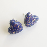 Navy and Gold Glitter Heart Stud Earrings {Polymer Clay}