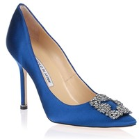 Hangisi satin pump blue<br>CLASSIC <strong>Manolo Blahnik</strong> - Designer Shoes at ShopSavannahs.com