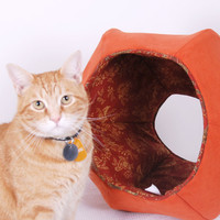 the Cat Ball in Burnt Orange Microfiber a Modern by JennasRedRhino
