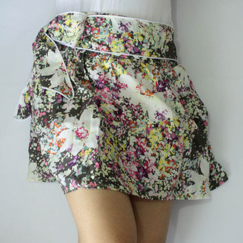 Floral Firework cotton mini skirt with sash belt by LoNaDesign