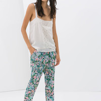 LOOSE FIT TROUSERS WITH FLORAL PRINT