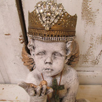 Cherub statue wearing jeweled Santos crown shabby chic distressed sculpture adorned jewelry home decor by anita spero