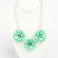 FLOWER AND PEARLS NECKLACE