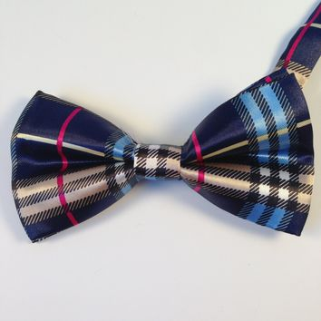 Navy Blue Striped Bow Tie