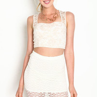EMBROIDERED LACE CROP TOP