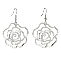 camellia flower drop earrings