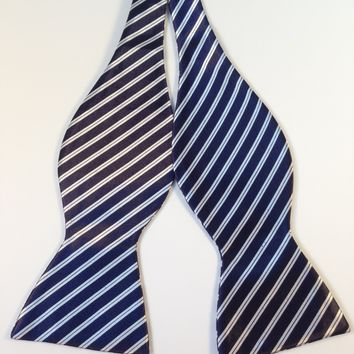 Navy Blue & White Striped Bow Tie