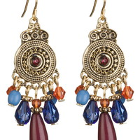 Embellished disc drop earrings