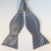 Black & White Striped Bow Tie