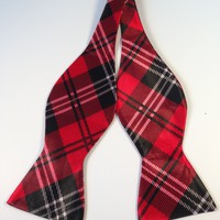 Red & Black Plaid Bow Tie