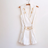white studded romper - 80s vintage gold bedazzled jewel sleeveless shorts playsuit - small / medium