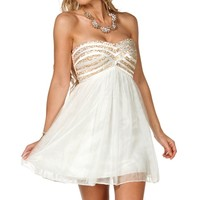 Meyer- Ivory/Gold Short Prom Dress