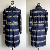 Vintage Jean Varon 1970s Navy Blue Chevron Shirt Dress M