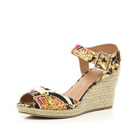 Cream scarf print two-part raffia wedges - wedges - shoes / boots - women