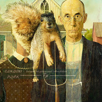 American Gothic Squirrel Photo Bomb, Surreal Art, Funny Art Print, Home Wall Decor, Animal Decor, Squirrel Print, Modern Art, Unique Art