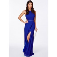 Missguided - Anthea Cut Out Split Maxi Dress In Cobalt Blue
