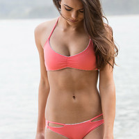 The Girl and The Water - Bettinis - Zig Zag Reversible Bikini Top / Coral Desert - $77