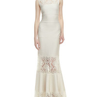 Sleeveless Ribbed Knit and Lace Gown, Cream