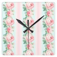 Romantic floral wall clock roses pink mint