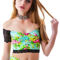 Floral Lace Trim Spandex Crop Top
