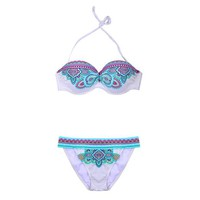 ZLYC Sexy Blue Women's Neon Color Tribal Totem Push-Up Bandeau Bikini Set