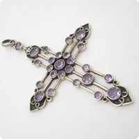 Vintage Sterling Amethyst Cross Huge N5506