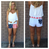 White Pocket of Stars Denim Shorts