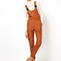 ASOS WHITE Dungarees in Leather