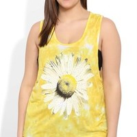 Plus Size Tie Dye Tank Top with Daisy Screen and Stud Accents