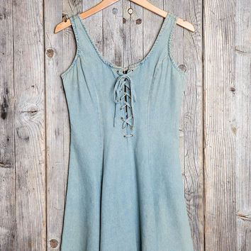 Vintage '90s Lace-Up Fit + Flare Dress - Urban Outfitters