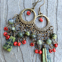 Green Gypsy Chandelier Earrings on Antique Brass Components - Green Jasper Earrings - Beaded Earrings - Bohemian Earrings - Gemstone Earring