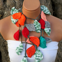 2014 spring, summer fashions..Crochet ivy,multicolor ivy leafs Lariat Scarf. Fashion Flower Scarves, Necklace...