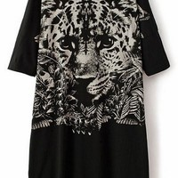 Stylish Black Tiger Tunic - OASAP.com