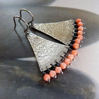 Coral earrings, Sterling silver dangle earrings, rustic natural jewelry, OOAK