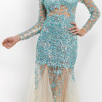 Blush 2014 Prom Dresses - Aqua & Nude Tulle Long Sleeve Mermaid Prom Gown
