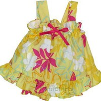 2PC Cabana Set - Monstera Plumeria Line Art Wide Strap Ruffle Dress with Matching Panty Hawaiian Aloha 2-Piece Set - Infant Size