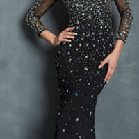 Night Moves by Allure 2014 Prom Dresses - Black Jersey Long Sleeve Backless Prom Gown