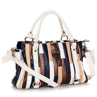 Color Block Bowknot Double Handle Tote Handbag Shoulder Bag