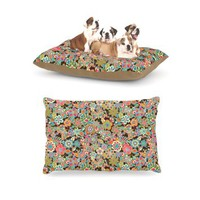 "Kess InHouse Julia Grifol ""My Butterflies and Flowers in Brown"" Rainbow Floral Dog Bed"