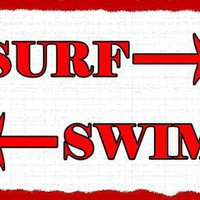 Surf Swim Metal Sign: Surfing and Tropical Décor Wall Accent