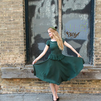 1940's Dress, VINTAGE, Green Goddess, Peplum, Midi, Tea Length, BRIDESMAID, Sequins