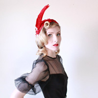1940's Hat, VINTAGE, Feather, Oxblood, Velvet, Pin Up, Carnival, Avant Garde, Couture, Burlesque