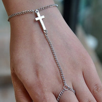 Silver Cross Hand Chain
