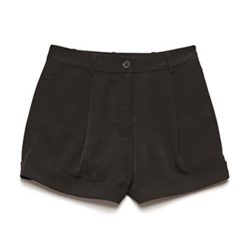 Pleated High-Waist Shorts