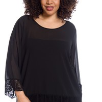 Fresh Breeze Plus Size Crochet Trim Three Quarter Sleeve Chiffon Top - Black