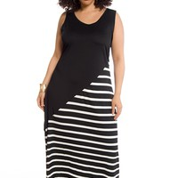 Just Your Type Striped Plus Size Maxi Dress - Black and White