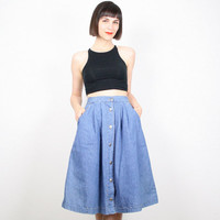 Vintage Denim Skirt High Waisted Skirt Blue Denim Jean Skirt Midi Skirt Silver Studded 1980s 80s Chambray Knee Skirt A Line Skirt M Medium